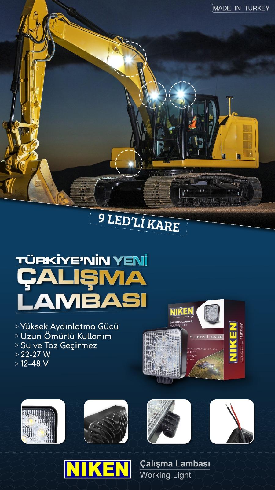 ÇALIŞMA LAMBASI 9 LED 27W KARE